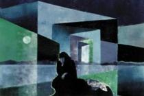 2000-Zwerfvrouw-1, sjabloonprint, 40x50 cm