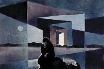2000-Zwerfvrouw-4, sjabloonprint, 40x50 cm