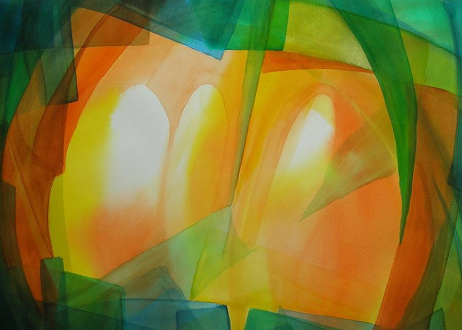2016-Nr. 2 van de serie Licht doorlatend kleurenspel, aquarel 60x80 cm