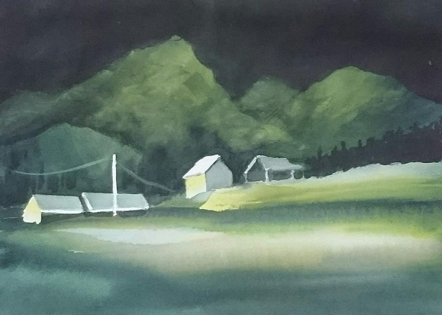2018-Noorwegen bij nacht, aquarel, 40 bij 50 cm