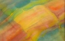 2006-Raakvlak geel, rood, groen, aquarel, 50x70 cm