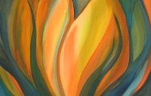 2016-Gele bloei, aquarel 60x65 cm