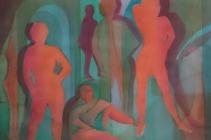 2018-Figuranten, aquarel, 80 bij 60 cm
