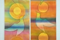 2018-3. Tweeluik 'Gevleugelde flow', aquarel op aquarelpaier, 2 maal 220 bij 56 cm