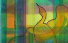 2015-Transparante vogel, aquarel 40 bij 50 cm