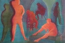 2018-Hoofdrolspelers, aquarel, 80 bij 60 cm