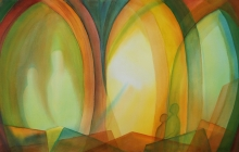 2019-Ver licht, aquarel, 110 bij 50 cm