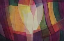 2019-Roze druppel,aquarel, 60 bij 80 cm