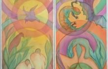 2020 Corona tweeluik, Changement-de-décor, Aquarel, 225 bij 2x50 cm