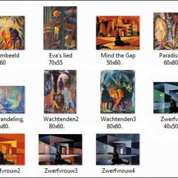 Expositie sjabloonprints en schilderijen